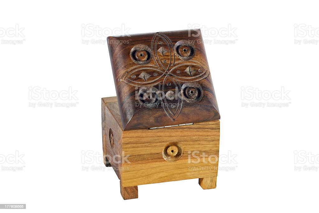 wooden box for female ornaments and jewelry stock photo