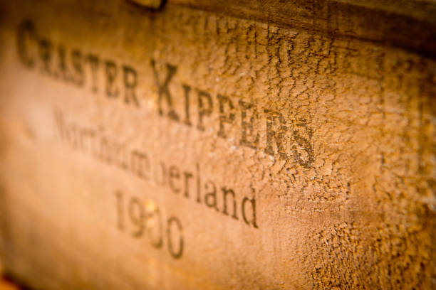 Wooden box for kippers stock photo