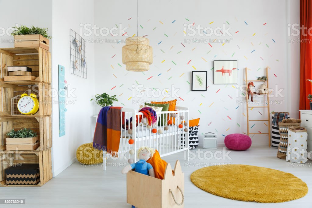 Wooden box in baby's room stock photo