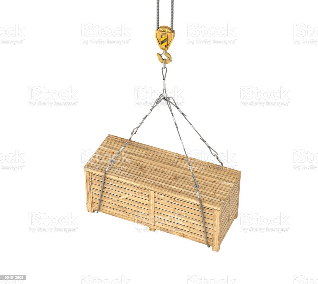 wooden box on the crane 3d illustration royalty-free stock photo