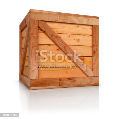 Wooden box 3d rendered. Isolate on white background