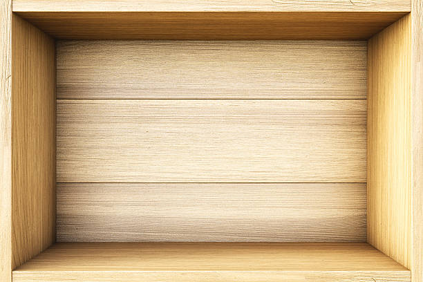 Wooden box shelf for storing items stock photo