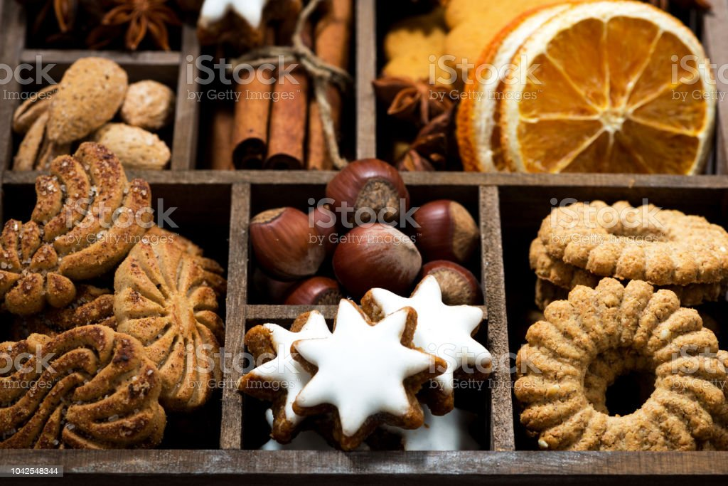Christmas Sweets.Wooden Box With Christmas Sweets And Spices Stock Photo Download Image Now