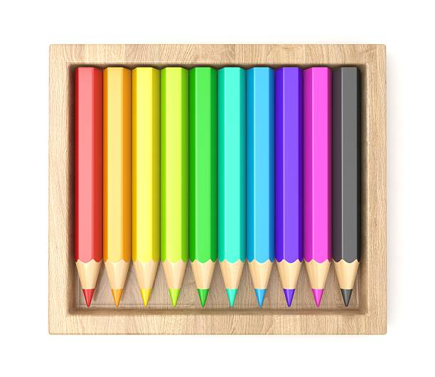 Wooden box with colorful pencils. 3D stock photo