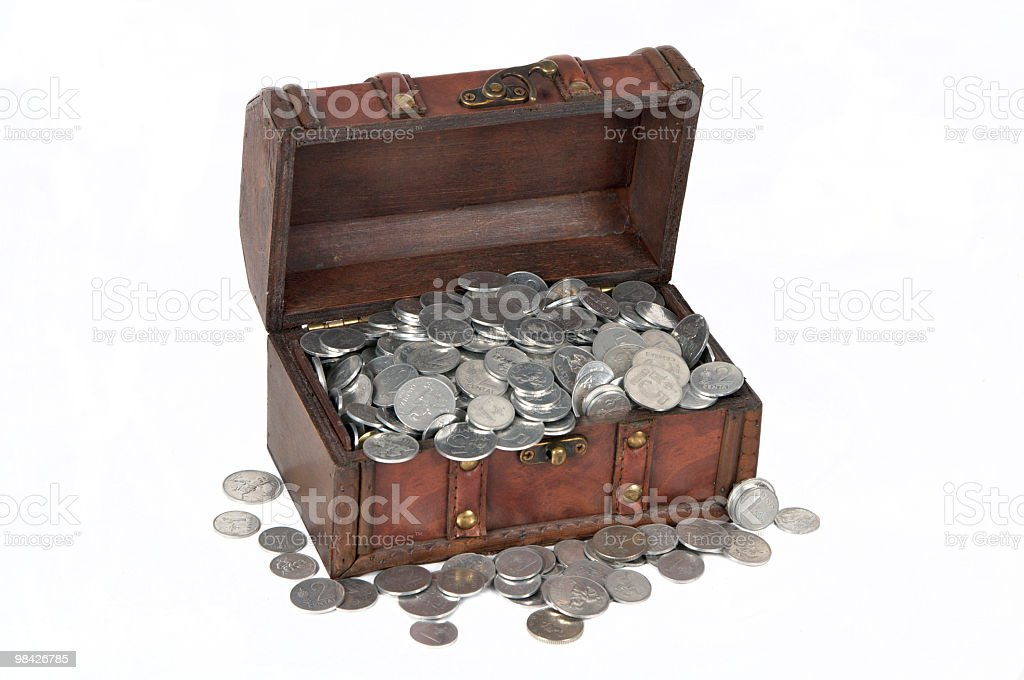 Wooden box with money royalty-free stock photo