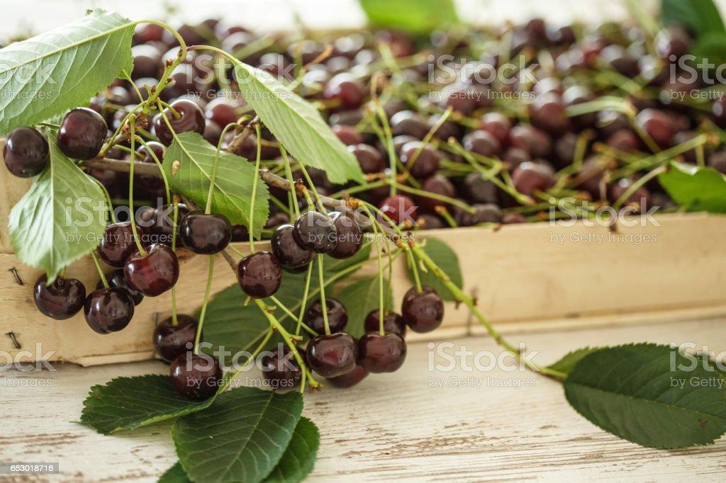 Wooden box with ripe organic cherries stock photo