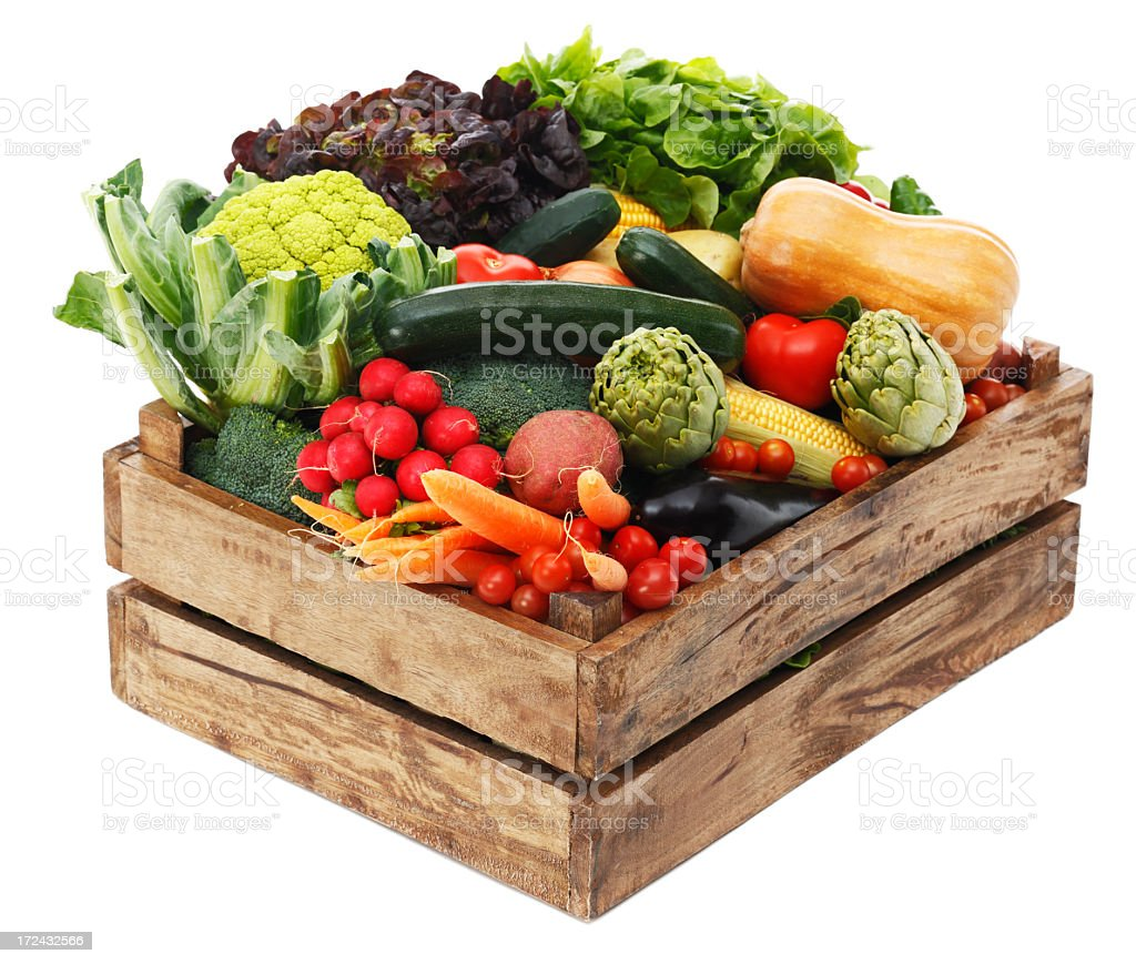 Wooden box with vegetables royalty-free stock photo