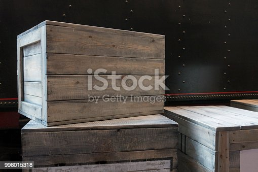 Wooden boxes vintage grunge package.