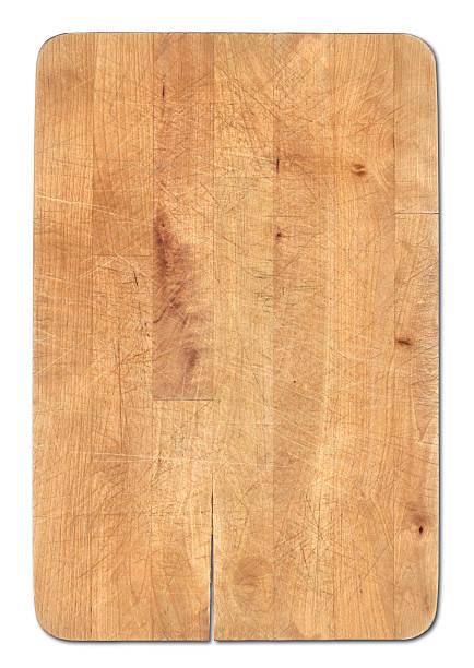 chleb drewniane deska do krojenia na białym tle, nóż's kawałki widoczne - deska zdjęcia i obrazy z banku zdjęć