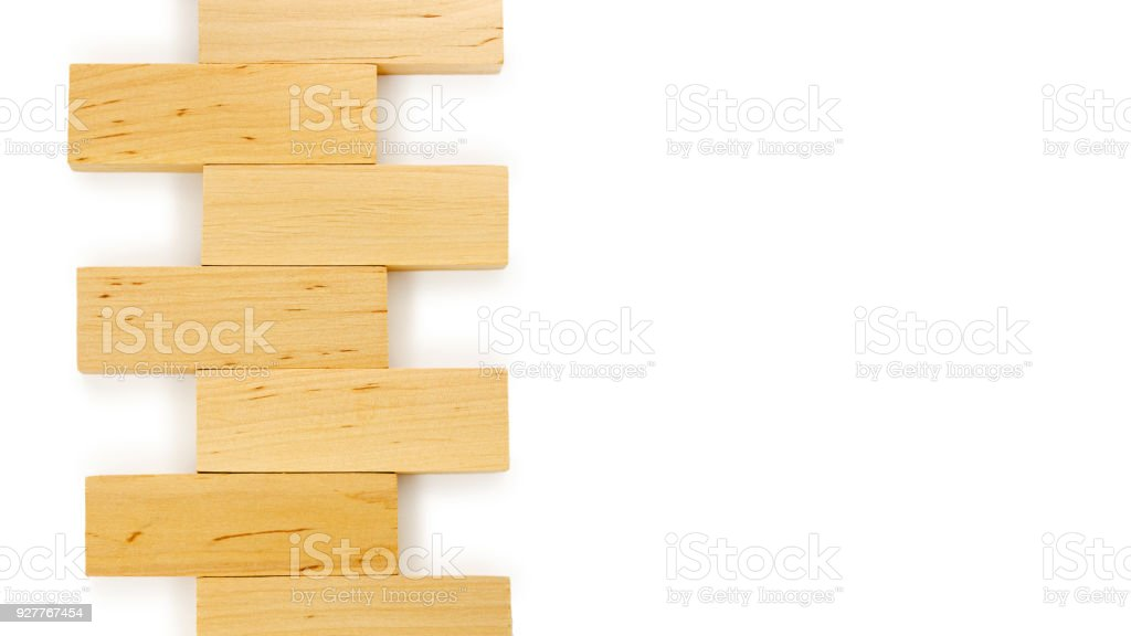 Wooden Bricks Isolated On White Background Copy Space Template Stock