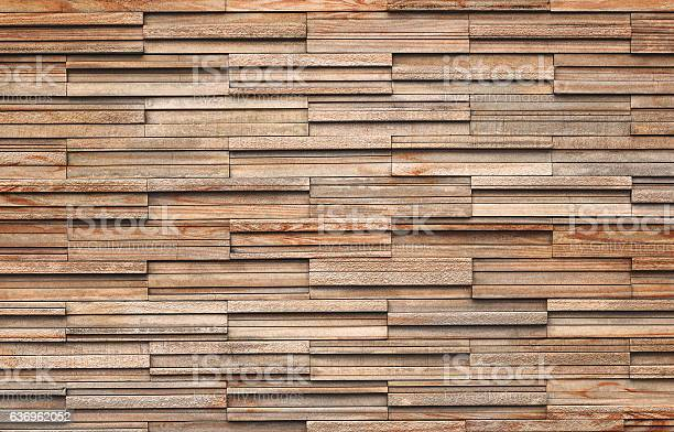 Photo of Wooden bricks slate wall texture background