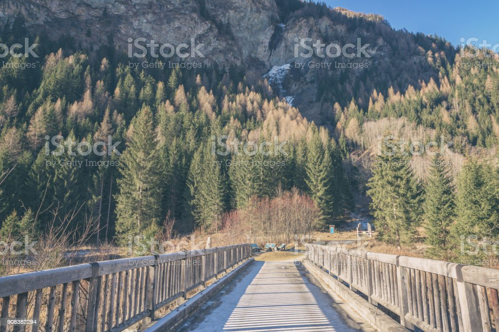 Wooden bridge across a small river in the national park Hohe Tauern, Alps stock photo
