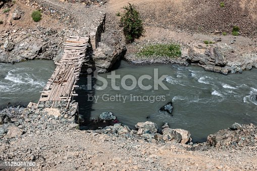 Wooden bridge across the Drass River ,Himalaya,Jammu and Kashmir, Ladakh Region, Tibet,India, Nikon D3x