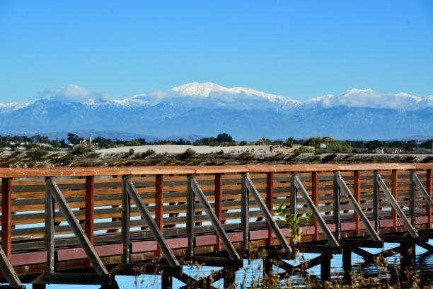 Wooden Bridge at the Bolsa Chica Wetlands with Mt. Baldy in the background. The San Gabriel Mountains are covered in snow, which is good news for drought-stricken California. mount baldy stock pictures, royalty-free photos & images