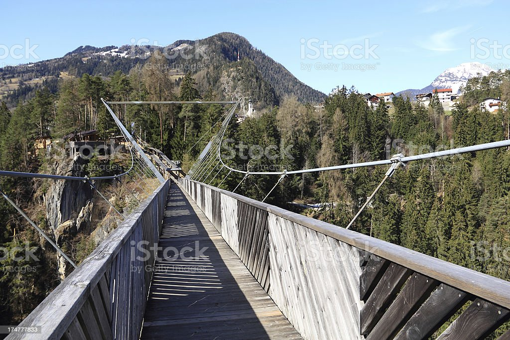 Wooden bridge - Austrian Alps, Tirol. royalty-free stock photo