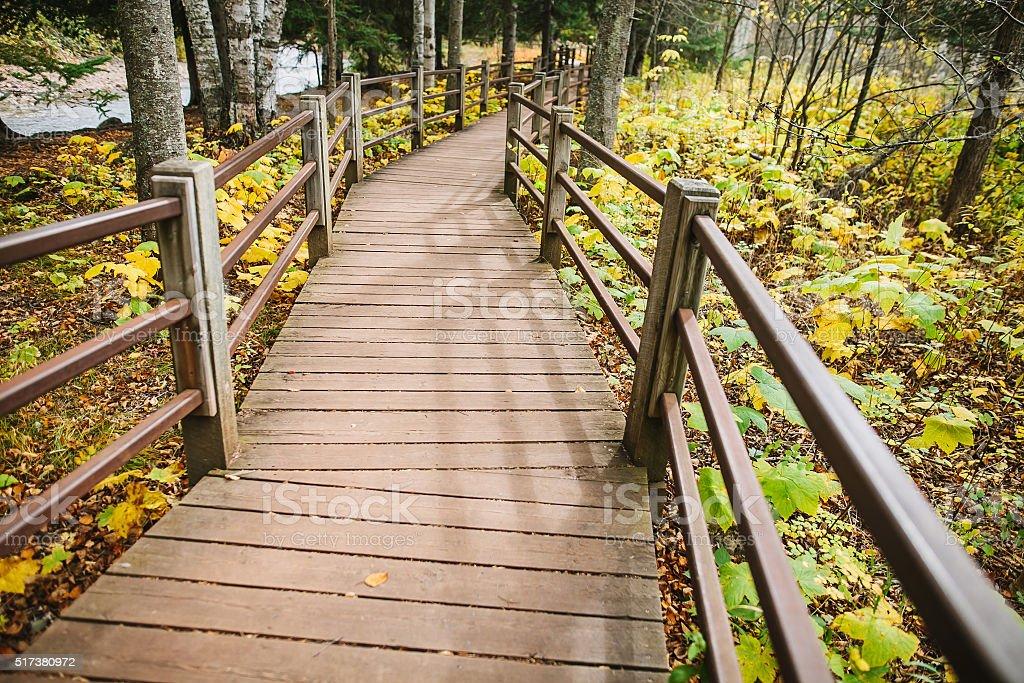 Wooden Bridge in Gooseberry Falls State Park. stock photo
