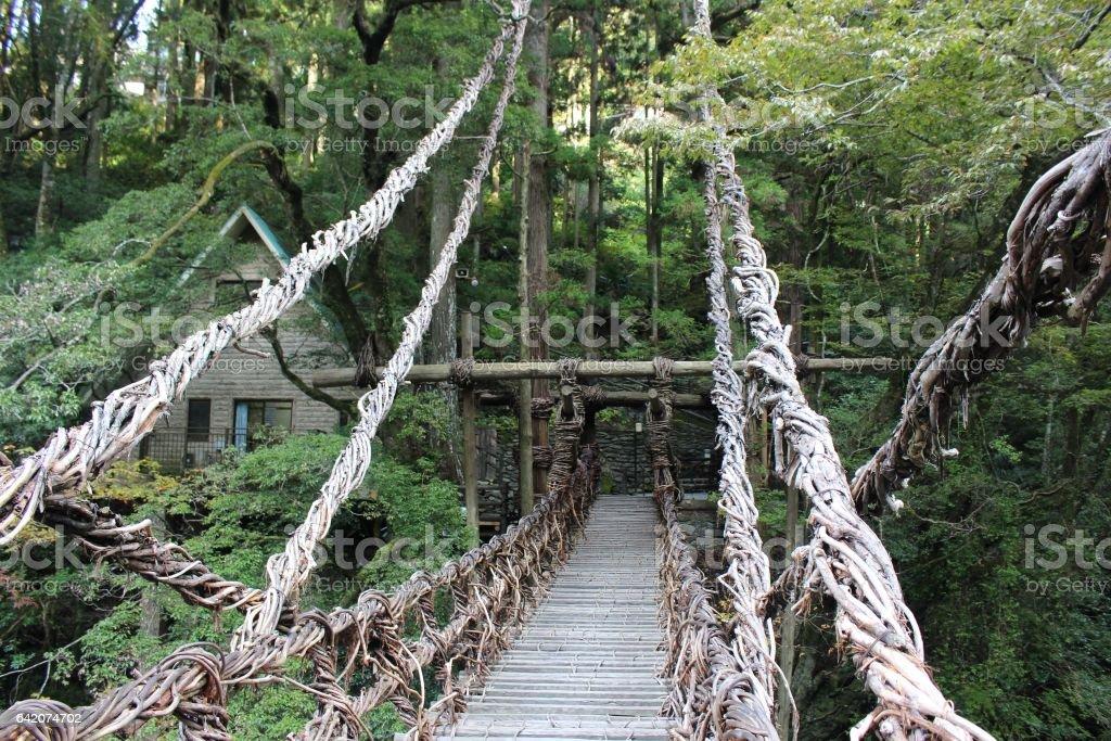 wooden bridge in japanese valley stock photo