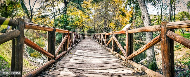 Wooden bridge inside the natural park in Madrid, Spain.