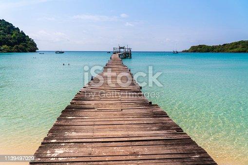 Wooden bridge in the sea in island Koh Kood Thailand