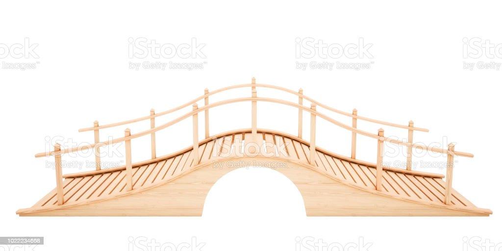 Wooden bridge isolated on white background. Slide view. 3D rendering illustration. stock photo