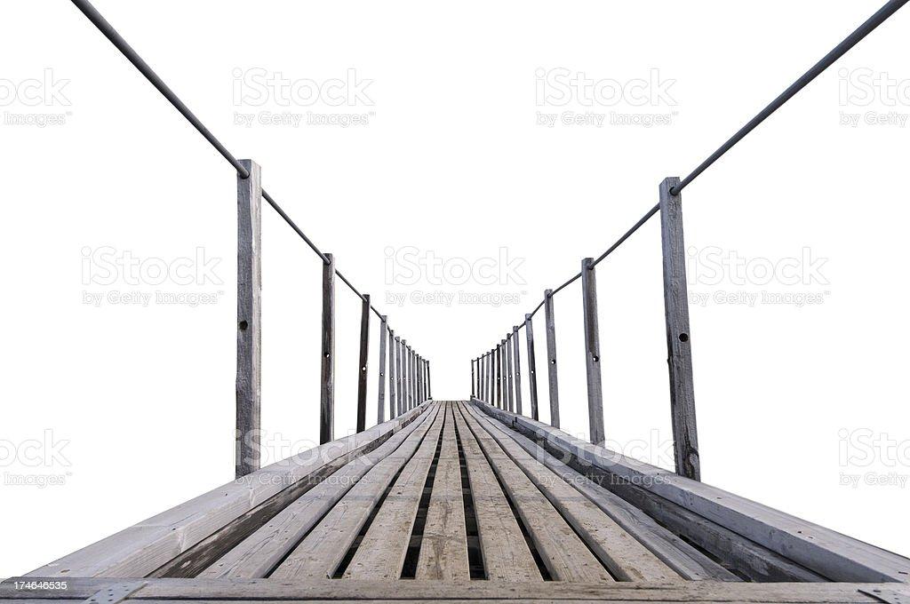 Wooden bridge isolated on white royalty-free stock photo