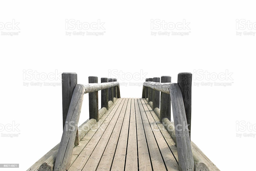 Wooden bridge isolated on white royalty-free stock photo