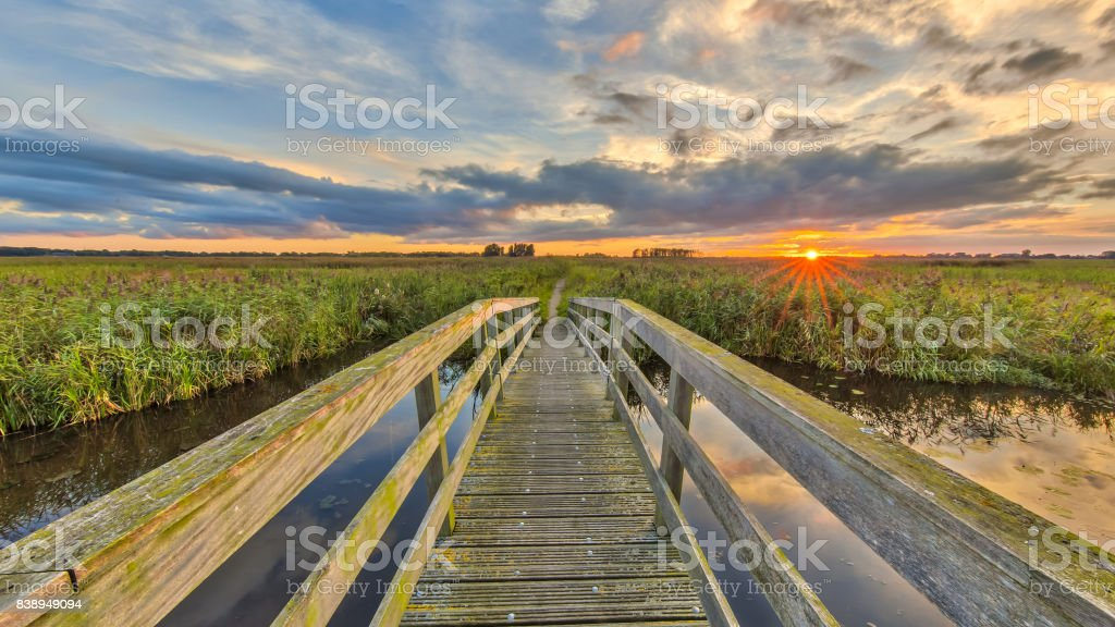 Wooden bridge on Cycling track stock photo