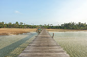 Wooden bridge on sea for entry to the beautiful island.