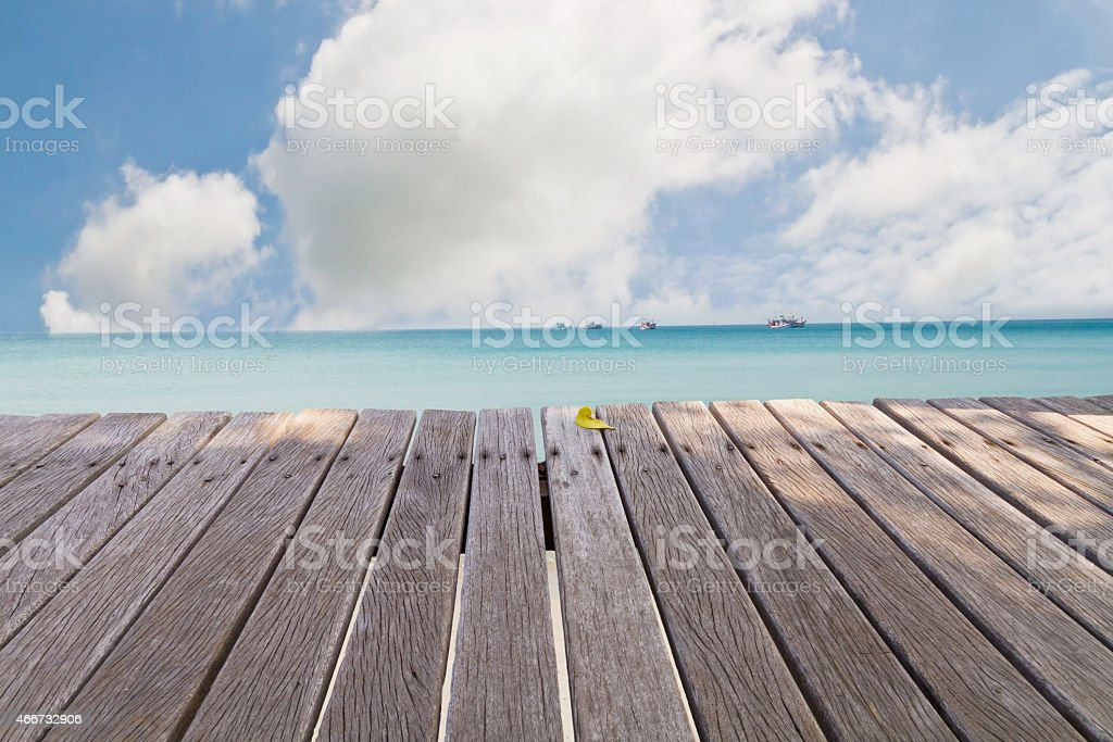 Wooden bridge on way to harbor, close-up stock photo