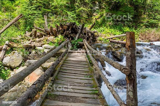 Photo of Wooden bridge over mountain stream