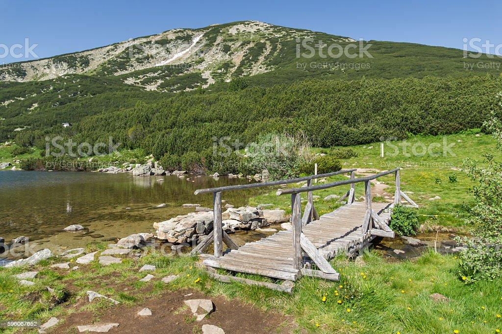 wooden bridge over river in Pirin Mountain near Bezbog lake royalty-free stock photo