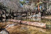 Wooden bridge over the river Manzanares along its course through La Pedriza, in Guadarrama Mountains National Park, Madrid, Spain