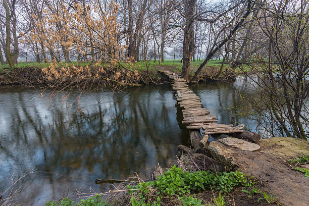 wooden bridge over the river stock photo
