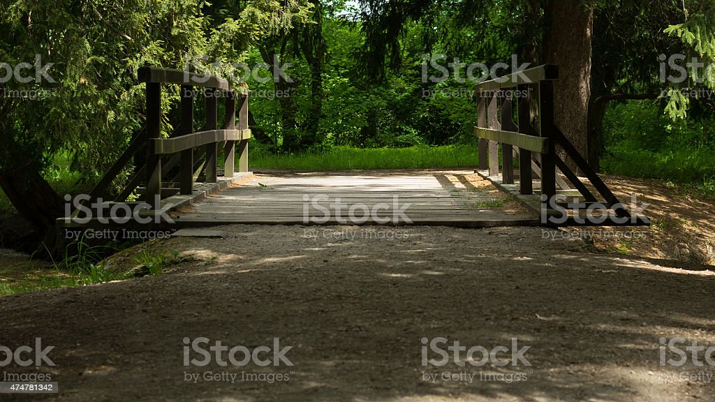Wooden bridge over the stream in the park stock photo