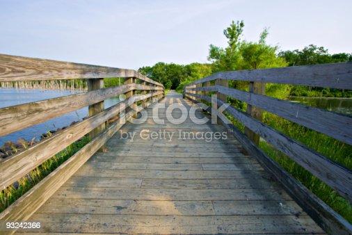 A wooden bridge at Manaquan Reservoir in Manasquan, New Jersey