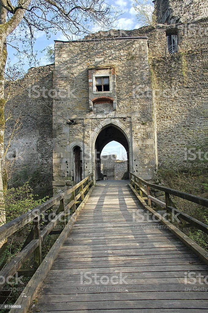 Wooden Bridge to a Castle royalty-free stock photo