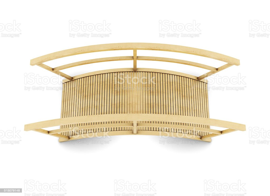 Wooden bridge top view on white background. stock photo