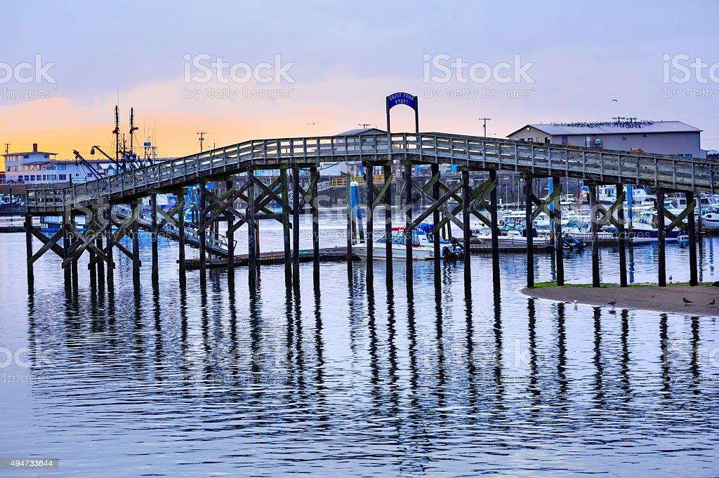 Wooden Bridge Westport Grays Harbor Washington State stock photo