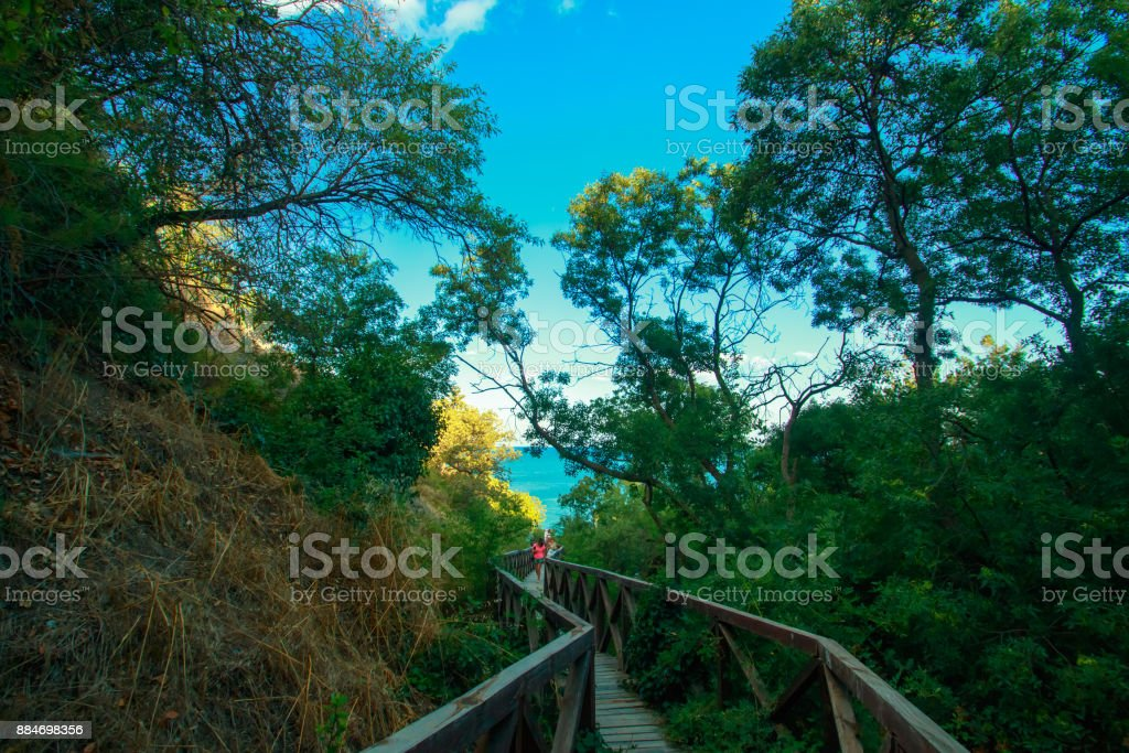 Wooden bridge-descent in a mountain park on the way to the beach at sea stock photo