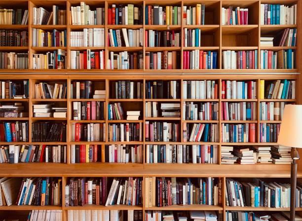 estantes de madera libros marrones con una lámpara - library fotografías e imágenes de stock