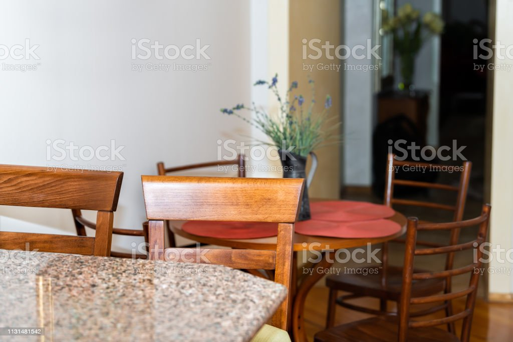 Wooden Brown Kitchen Counter And Granite Countertop Bar With Two Chairs In Small Apartment Stool Interior Design With Table And Corridor Hall Stock Photo Download Image Now Istock