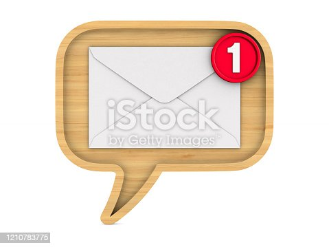 istock wooden bubble speak and envelope with notification on white background. Isolated 3D illustration 1210783775