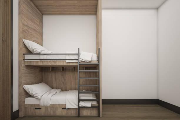 buck-holzbett mit mock-up weiße wand, 3d rendering - etagenbett weiss stock-fotos und bilder