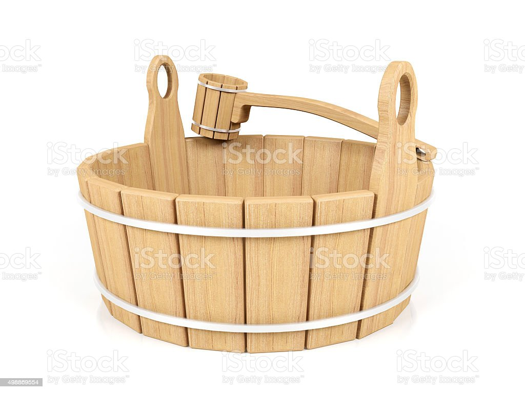 Wooden bucket and dipper stock photo