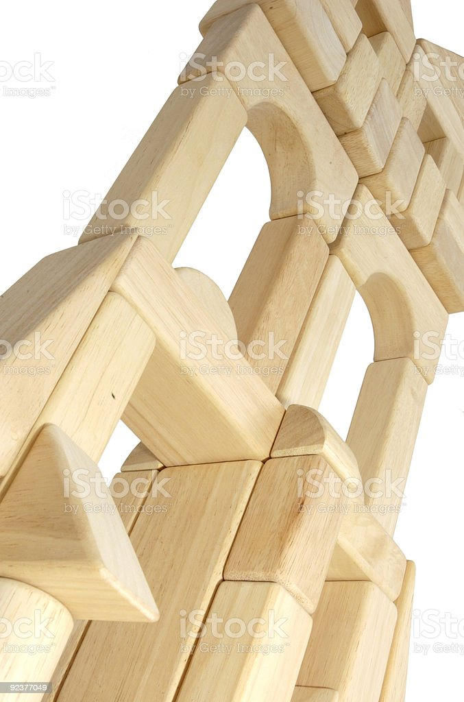 Wooden Building Blocks in an Architectural Form royalty-free stock photo