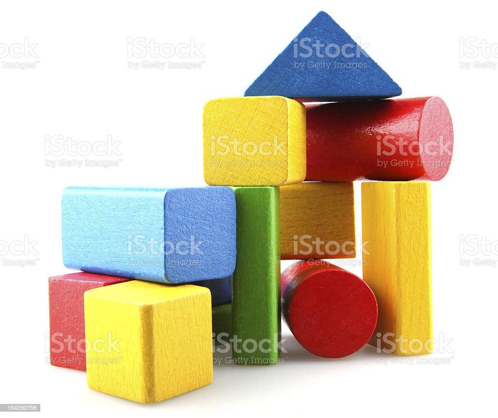 Wooden building blocks stock photo