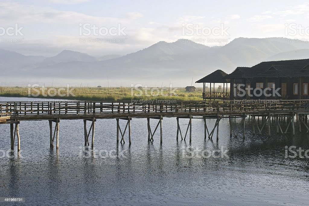 Wooden building on Inlay Lake, Burma (Myanmar) with stock photo