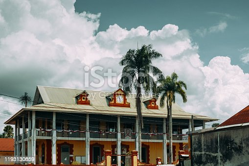 Caribbean wooden architecture of the capital city of French Guyana.