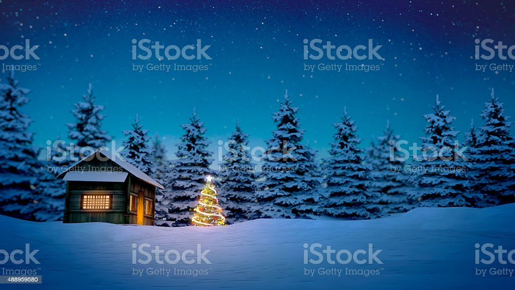 wooden cabin and christmas tree stock photo