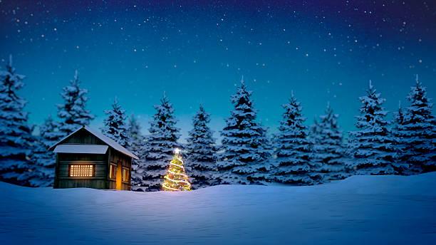 hölzerne kabine und christmas tree - weihnachtlich beleuchtete häuser stock-fotos und bilder